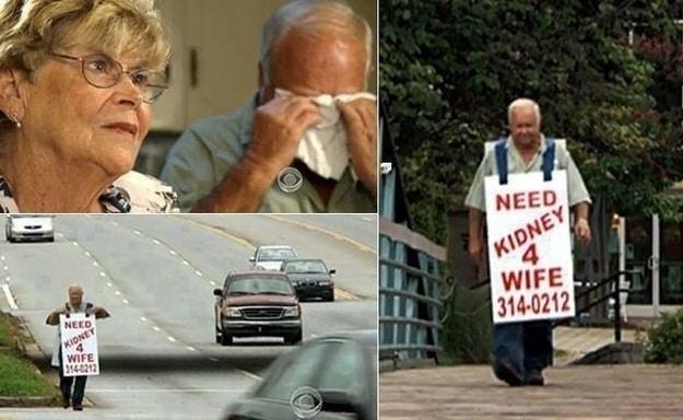"""Eşinin hayatını kurtarabilmek için, yüzlerce kilometreyi boynunda """"Eşim için böbrek aranıyor"""" yazısıyla yürüyen eşi. Olay medyada yer alınca, donör bulmayı başarmışlar..."""