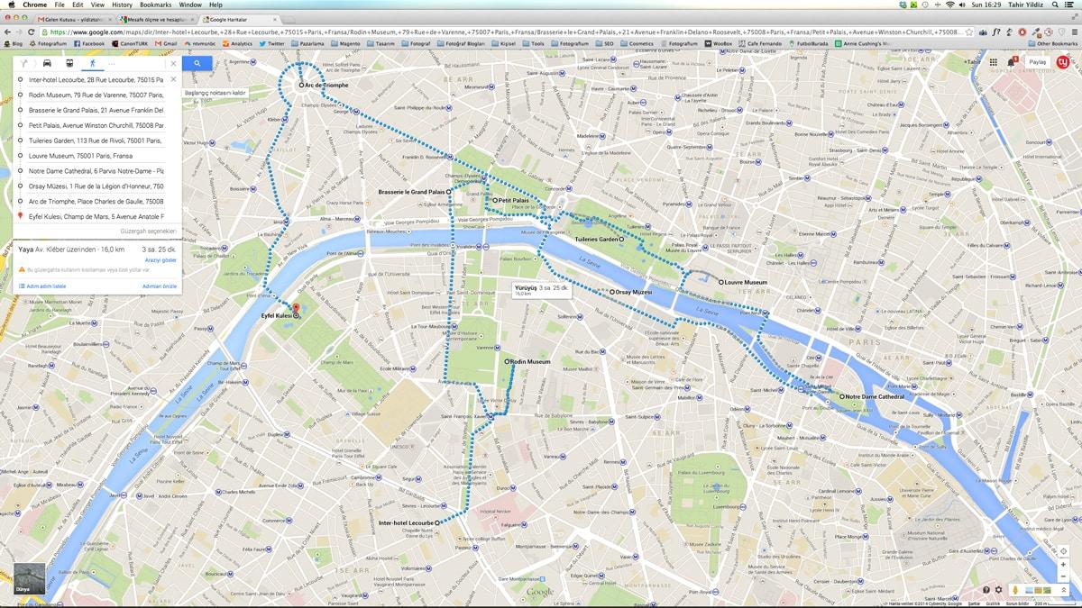 Paris yürüyüş rotamız