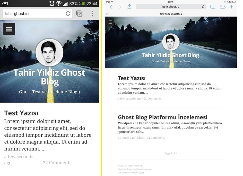Ghost blogumun HTC One ve iPad ile görünümü, gördüğünüz gibi Responsive tasarıma sahip
