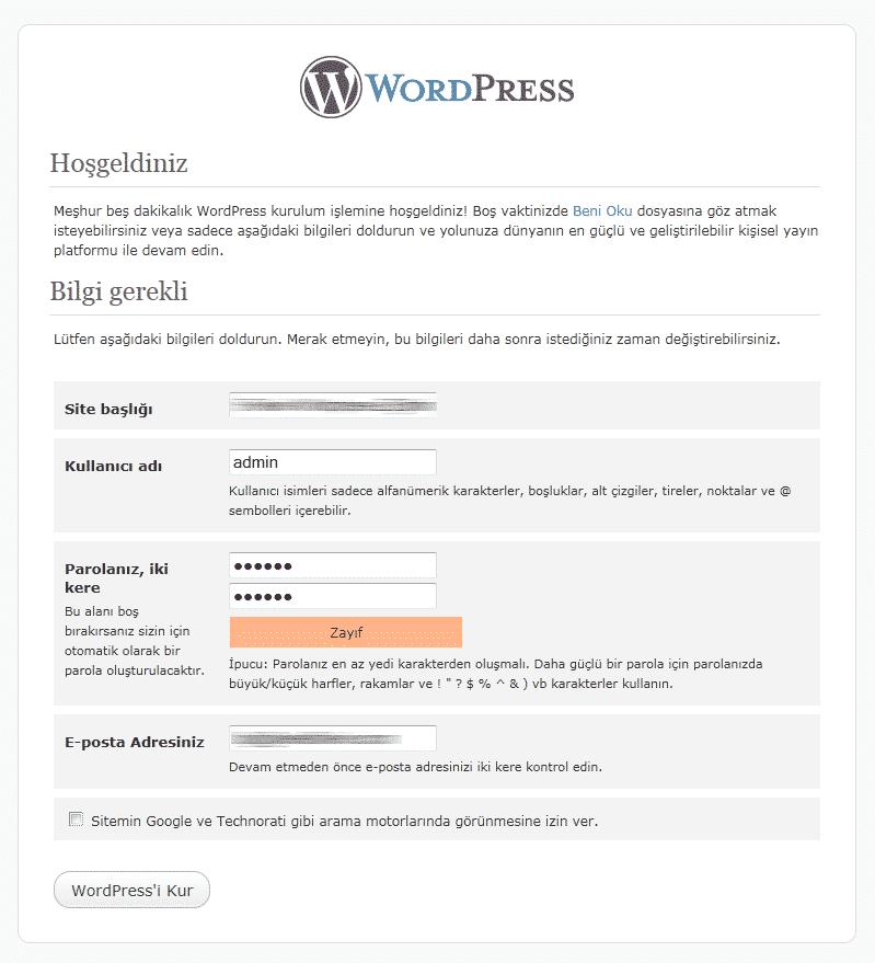 Burada sitenizin adını ve daha sonra sitenize giriş için kullanılacak kullanıcı adı ve parolanızı belirliyorsunuz