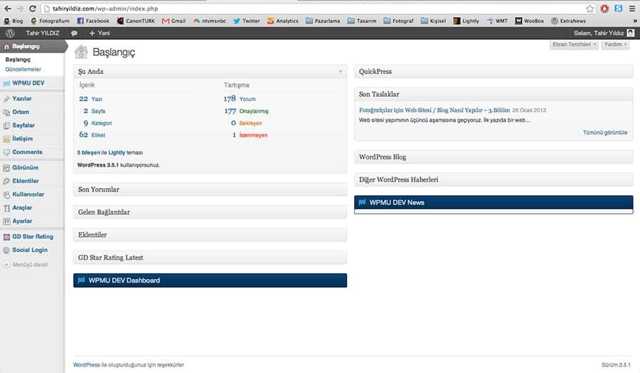 tahiryildiz.com admin paneli - sizdekine göre fazlalıklar olmasının sebebi sonradan yüklenen eklentiler.